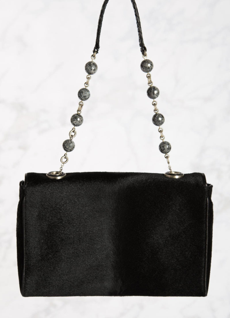 Black Shoulder Bag with Linked Agate Bead Handle, back view - Darby Scott