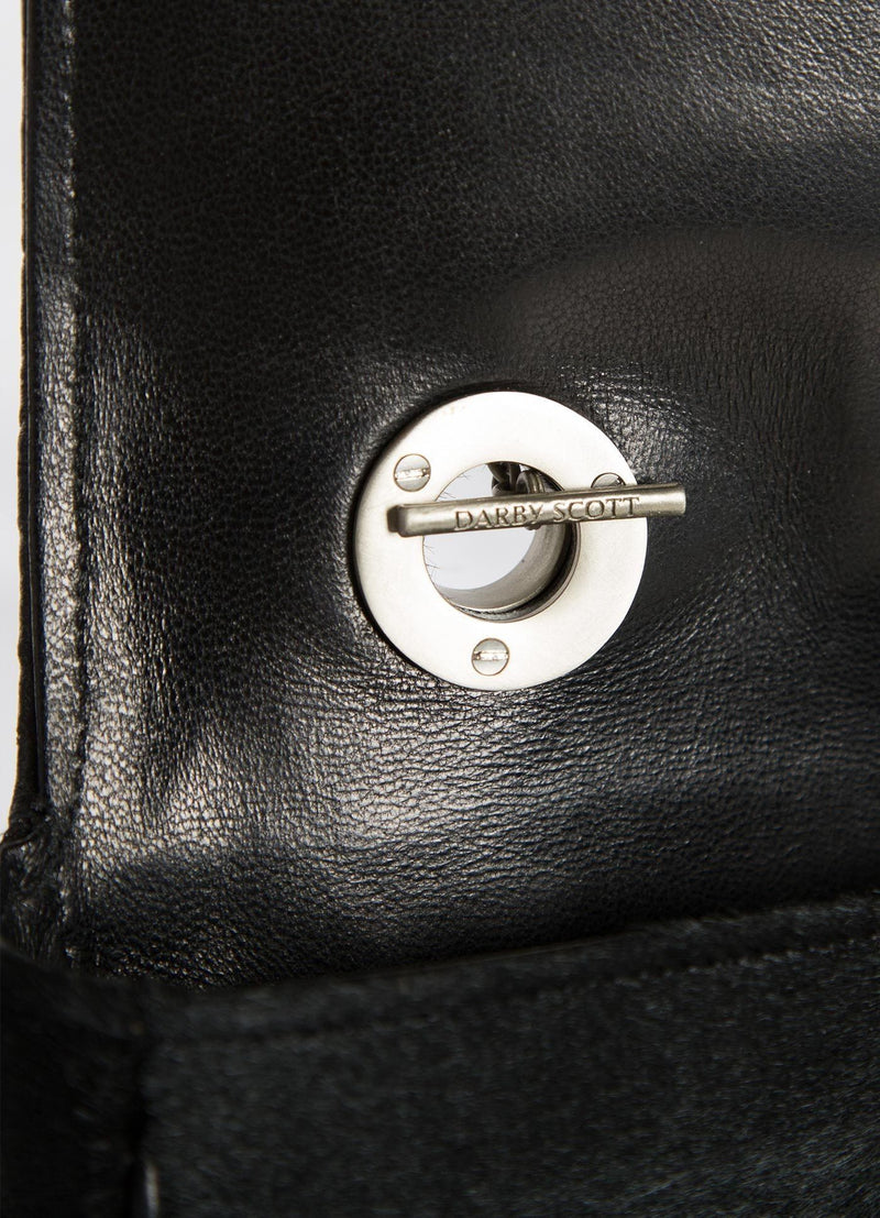 Interior view of handle toggle on black Chain & Jewel Shoulder Bag - Darby Scott