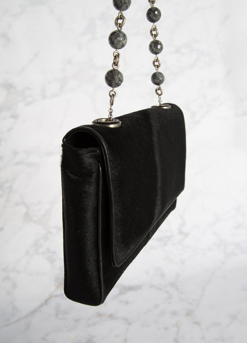 Black Haircalf Shoulder Bag with Linked Agate Bead Handle side view - Darby Scott