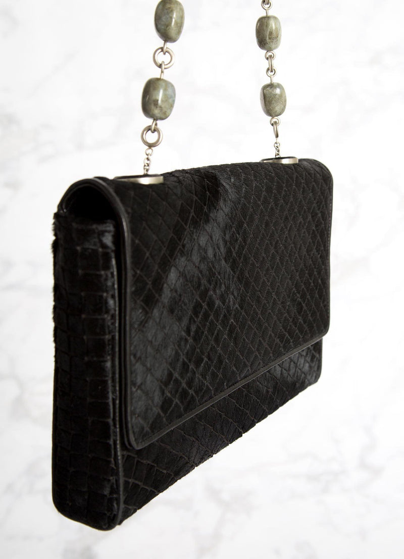 Black Embossed Haircalf Shoulder Bag with linked labradorite gemstones, side view - Darby Scott