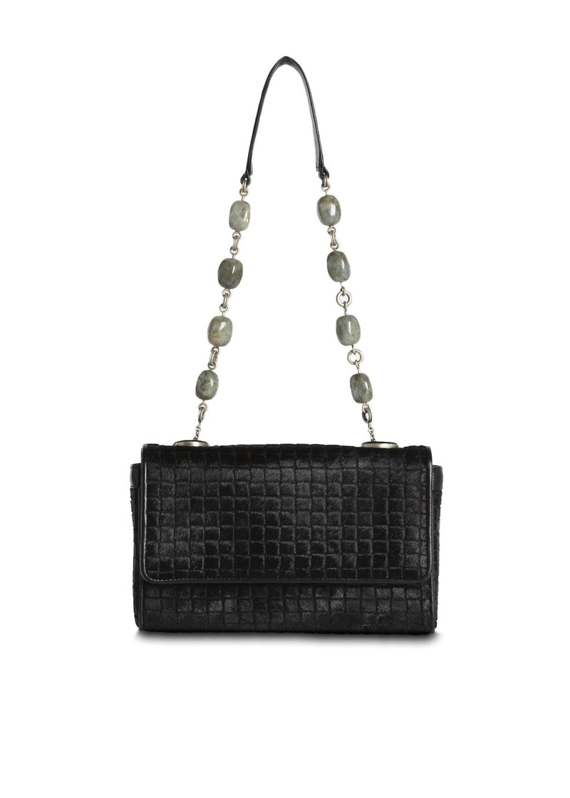 Black Embossed Haircalf Chain & Jewel mini Shoulder Bag - Darby Scott