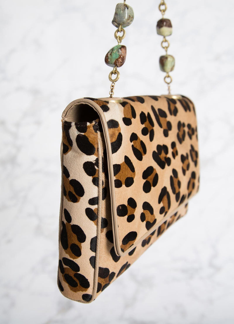Leopard Print Shoulder Bag with Chrysoprase Bead Handle, side view - Darby Scott