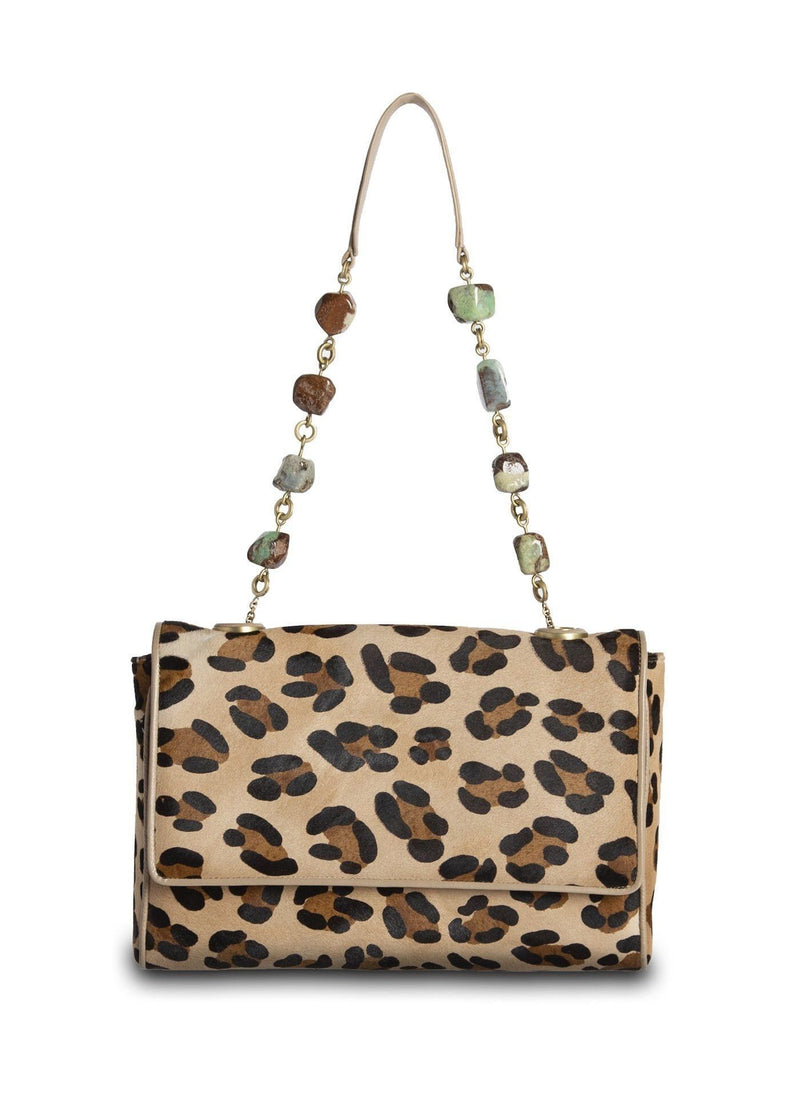 Leopard Print Haircalf Chain & Jewel Shoulder Bag - Darby Scott