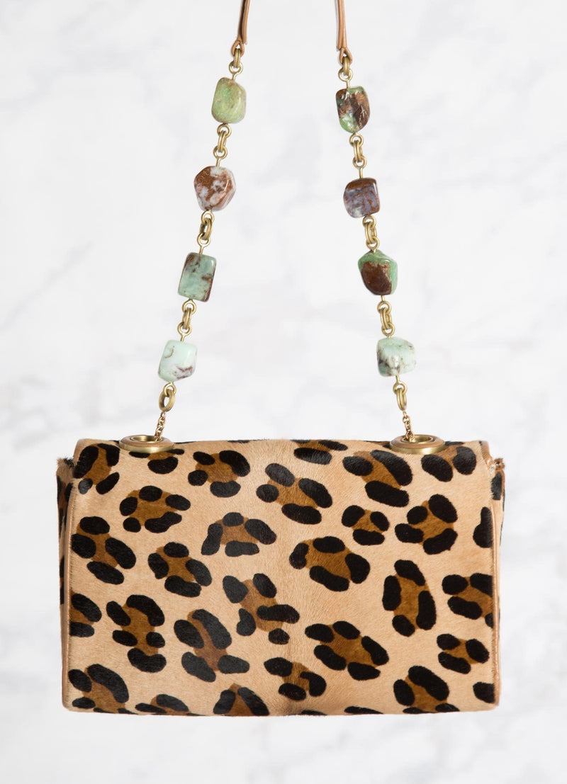 Leopard print Shoulder Bag with linked chrysoprase nuggets, back view - Darby Scott