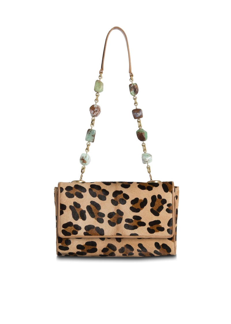 Leopard Print Haircalf Chain & Jewel mini Shoulder Bag - Darby Scott
