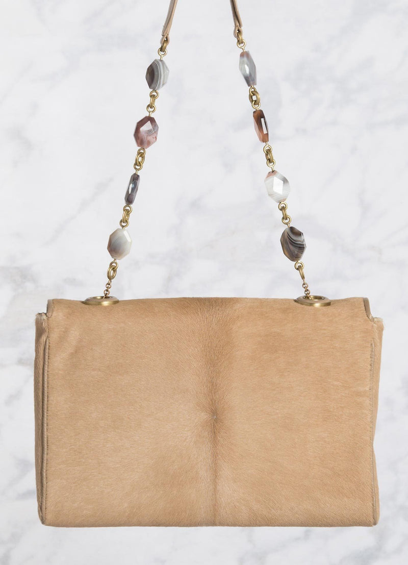 Tan Haircalf Chain & Jewel Shoulder Bag, back view - Darby Scott
