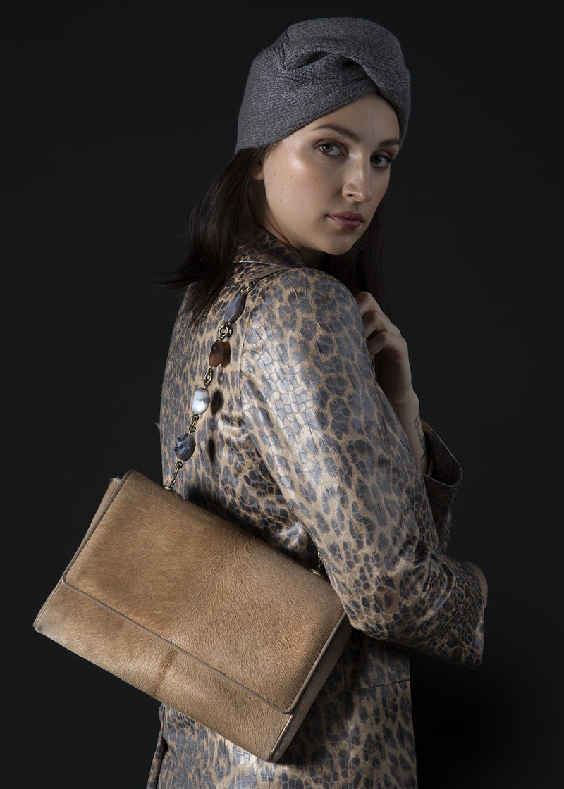 Model with Tan Haircalf Chain & Jewel Shoulder Bag on her shoulder - Darby Scott