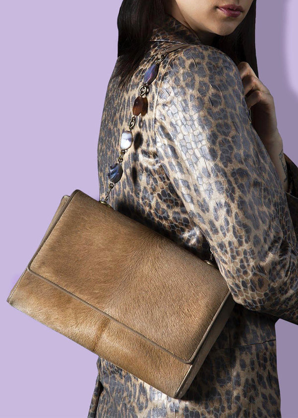 Model with Tan Haircalf Chain & Jewel Shoulder Bag - Darby Scott