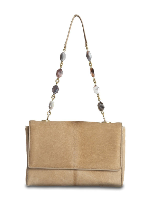 Tan Haircalf Chain & Jewel Shoulder Bag, front view - Darby Scott--alternate
