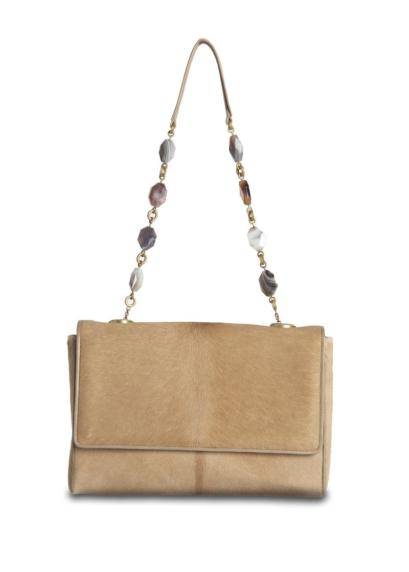 Tan Haircalf Chain & Jewel Shoulder Bag, front view - Darby Scott