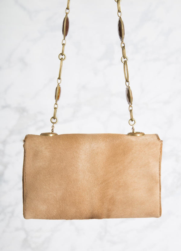 Tan Haircalf Shoulder Bag with Linked Tiger Eye Handle, back view - Darby Scott --alternate