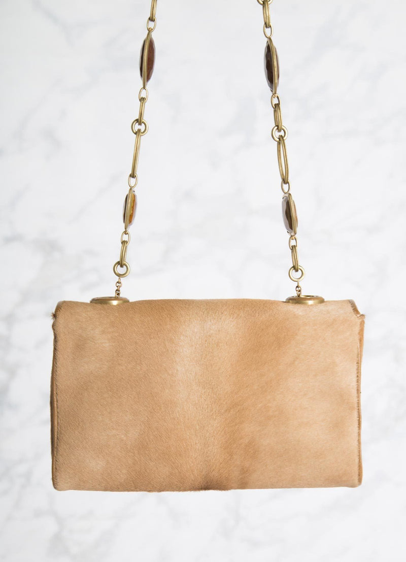 Tan Haircalf Shoulder Bag with Linked Tiger Eye Handle, back view - Darby Scott