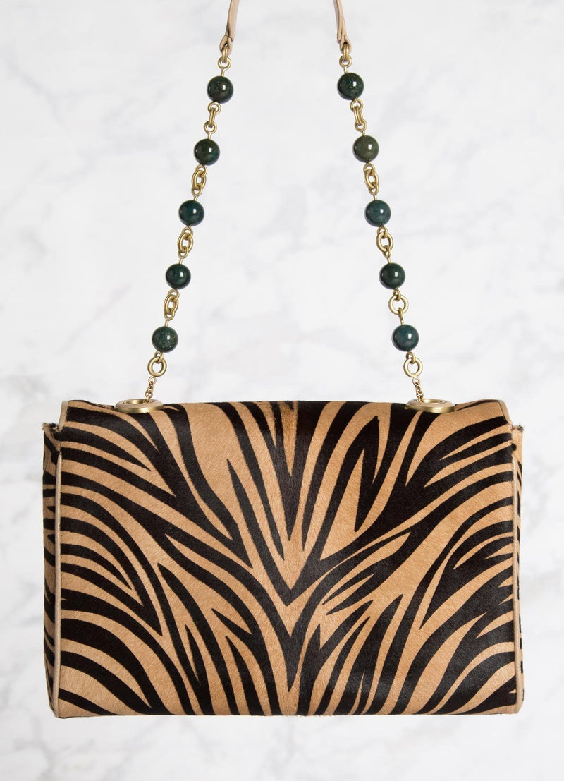 Animal Print Chain & Jewel Bag with Jade Bead Handle, Back - Darby Scott