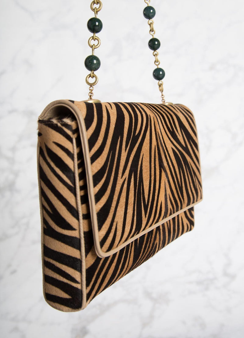 Animal Print Haircalf Chain & Jewel Shoulder Bag, side view - Darby Scott