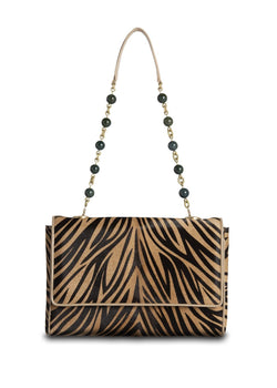 Animal Print Haircalf Chain & Jewel Shoulder Bag - Darby Scott