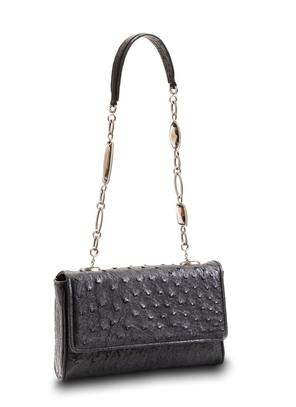 Black Ostrich Shoulder Bag with Linked smokey topaz Handle - Darby Scott--alternate