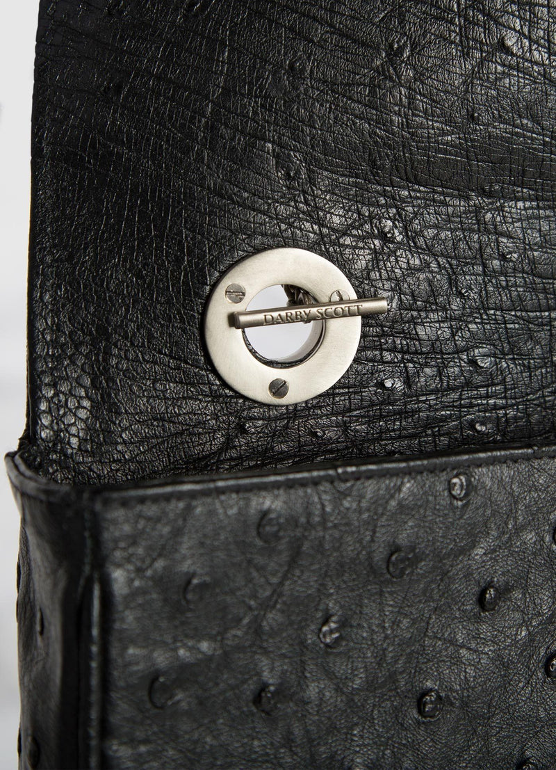 Interior view of handle on toggle black ostrich Shoulder Bag - Darby Scott