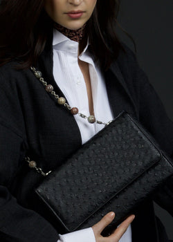 Model with Black Ostrich and Linked Jasper Beads Shoulder Bag - Darby Scott