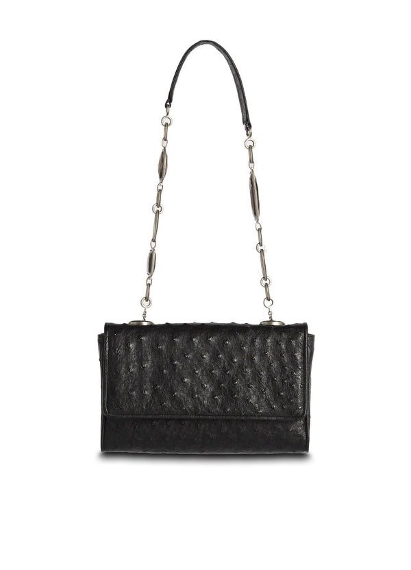Black Ostrich Chain & Jewel Mini Shoulder Bag - Darby Scott