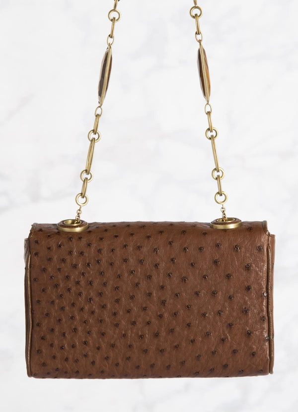 Brown Shoulder Bag with Linked Tiger Eye Handle, back view - Darby Scott --alternate