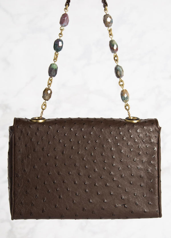 Brown Ostrich Shoulder Bag with Linked Jasper Bead Handle, Back View - Darby Scott--alternate