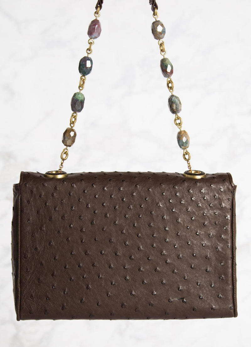 Brown Ostrich Shoulder Bag with Linked Jasper Bead Handle, Back View - Darby Scott