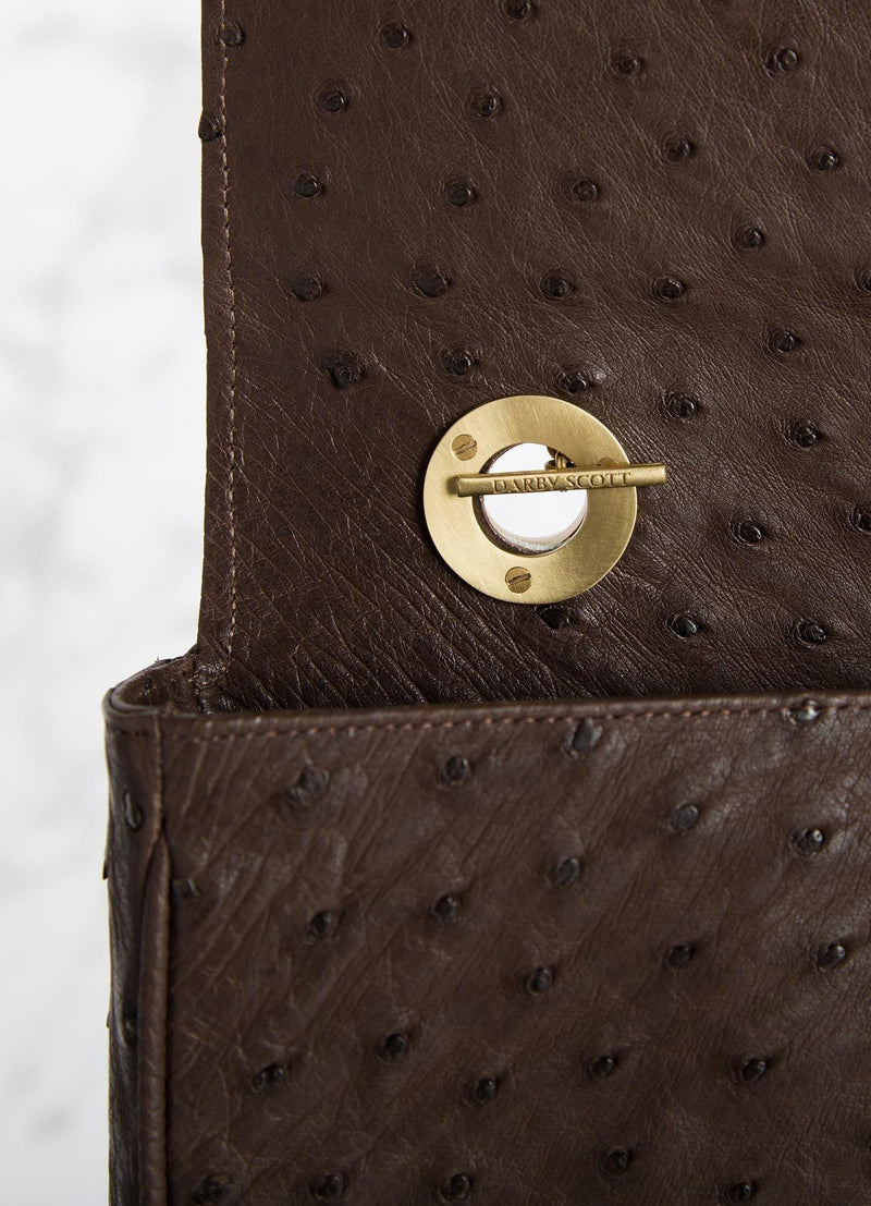 Interior view of handle toggle on brown ostrich Chain & Jewel Shoulder Bag - Darby Scott