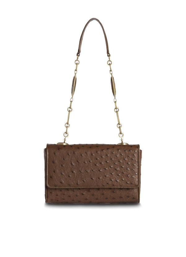 Brown Ostrich Chain & Jewel Mini Shoulder Bag - Darby Scott