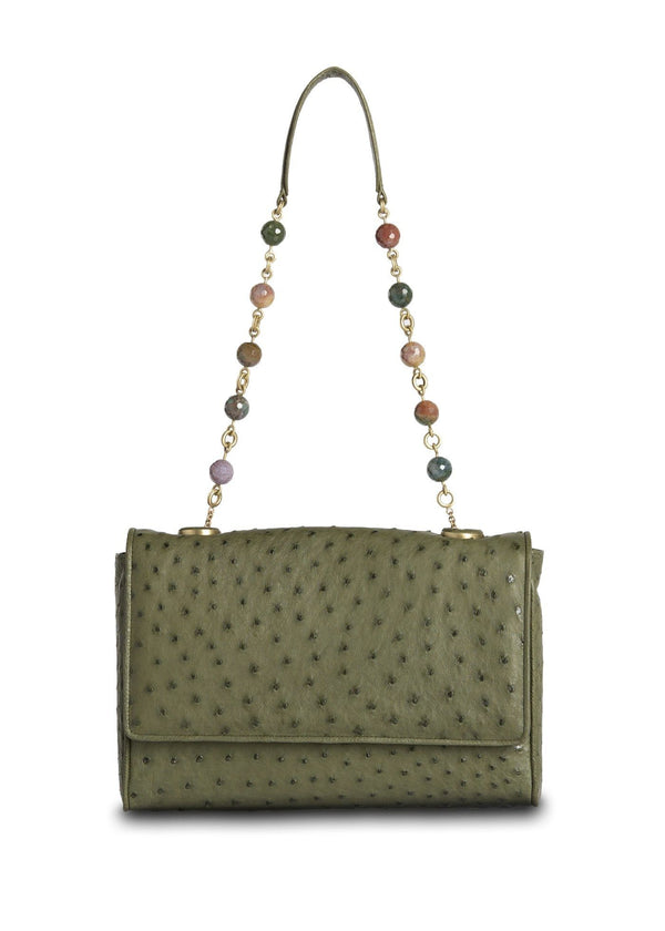 Olive Ostrich Chain & Jewel Shoulder Bag - Darby Scott--alternate