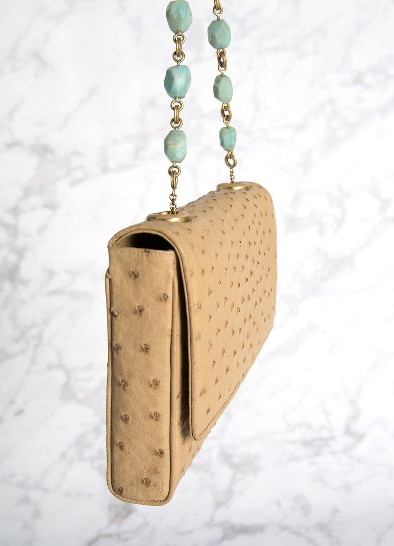 Tan Ostrich  Shoulder Bag with linked amazonite beads and leather, side view - Darby Scott