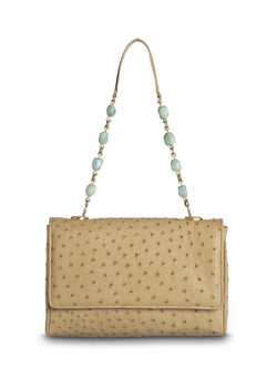 Tan Ostrich Chain & Jewel Shoulder Bag - Darby Scott