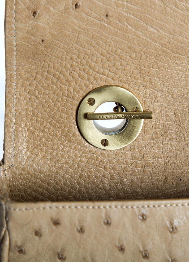 Interior view of handle toggle on Tan Shoulder Bag - Darby Scott