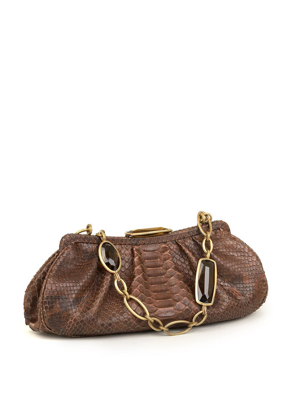 Dark Brown Chain & Jewel Shoulder Bag - Darby Scott