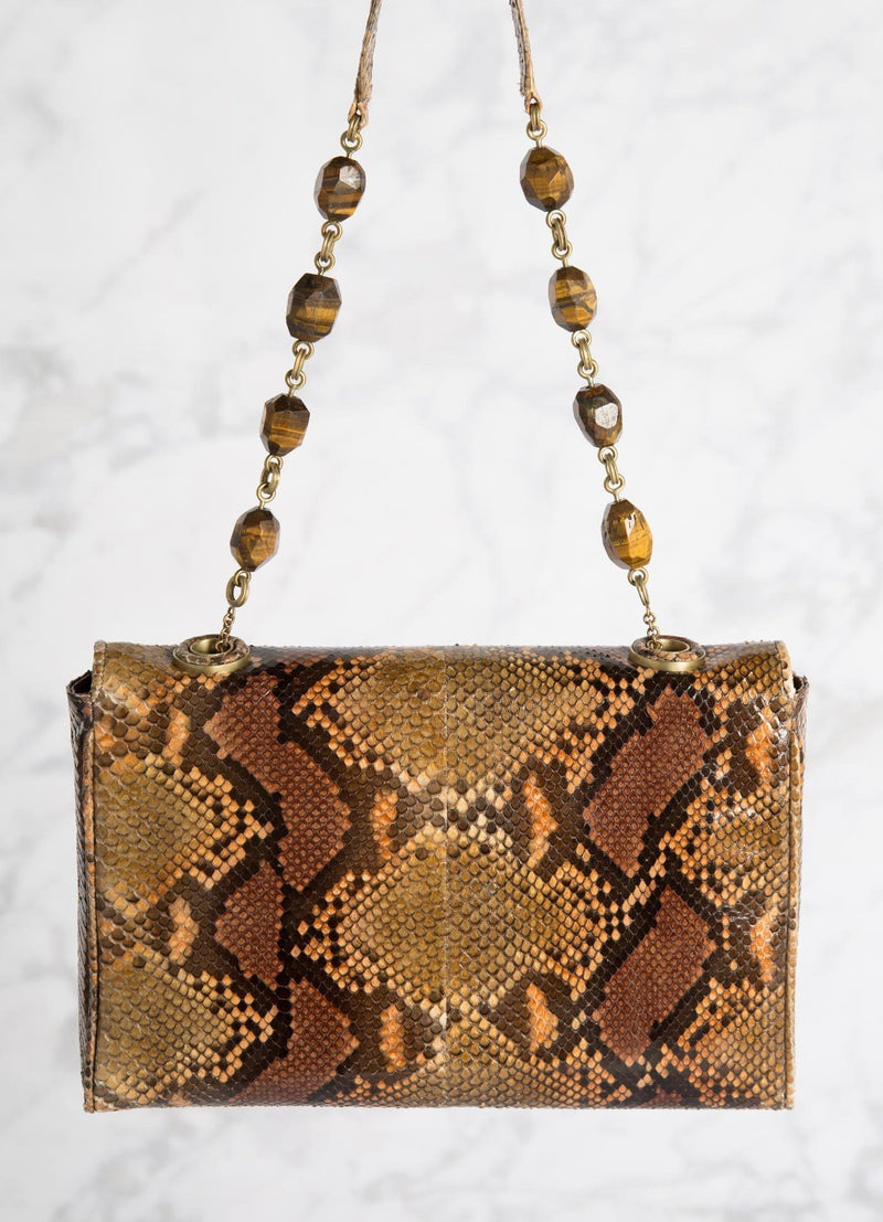Cognac Shoulder Bag with Tiger Eye Bead Handle, back view - Darby Scott