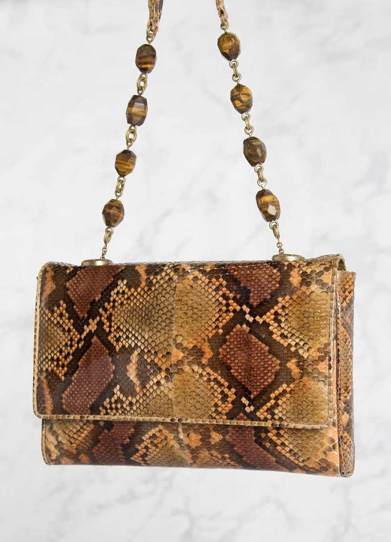 Cognac Brown Chain & Jewel Shoulder Bag, Tiger-Eye Handle - Darby Scott