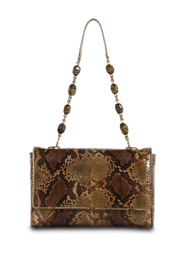 Cognac Brown Chain & Jewel Shoulder Bag with Tiger Eye Bead Handle - Darby Scott