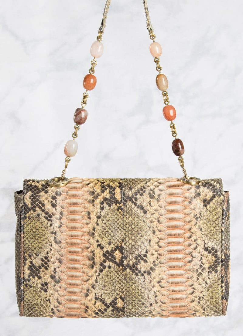 Peach Shoulder Bag with Moonstone Bead Handle, back view - Darby Scott