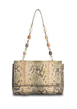 Peach colored Chain & Jewel Shoulder Bag, front view - Darby Scott