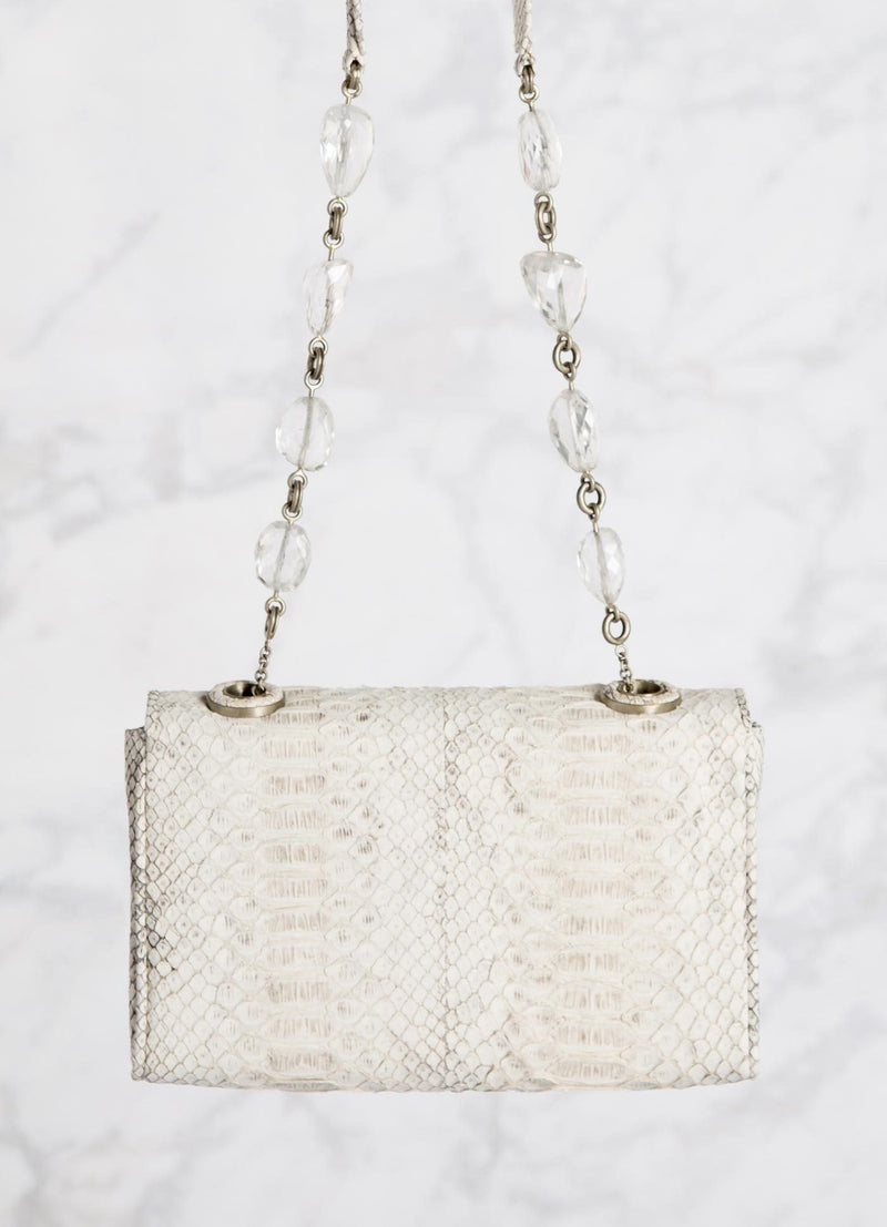 White Shoulder Bag with linked quartz bead handle, back view - Darby Scott