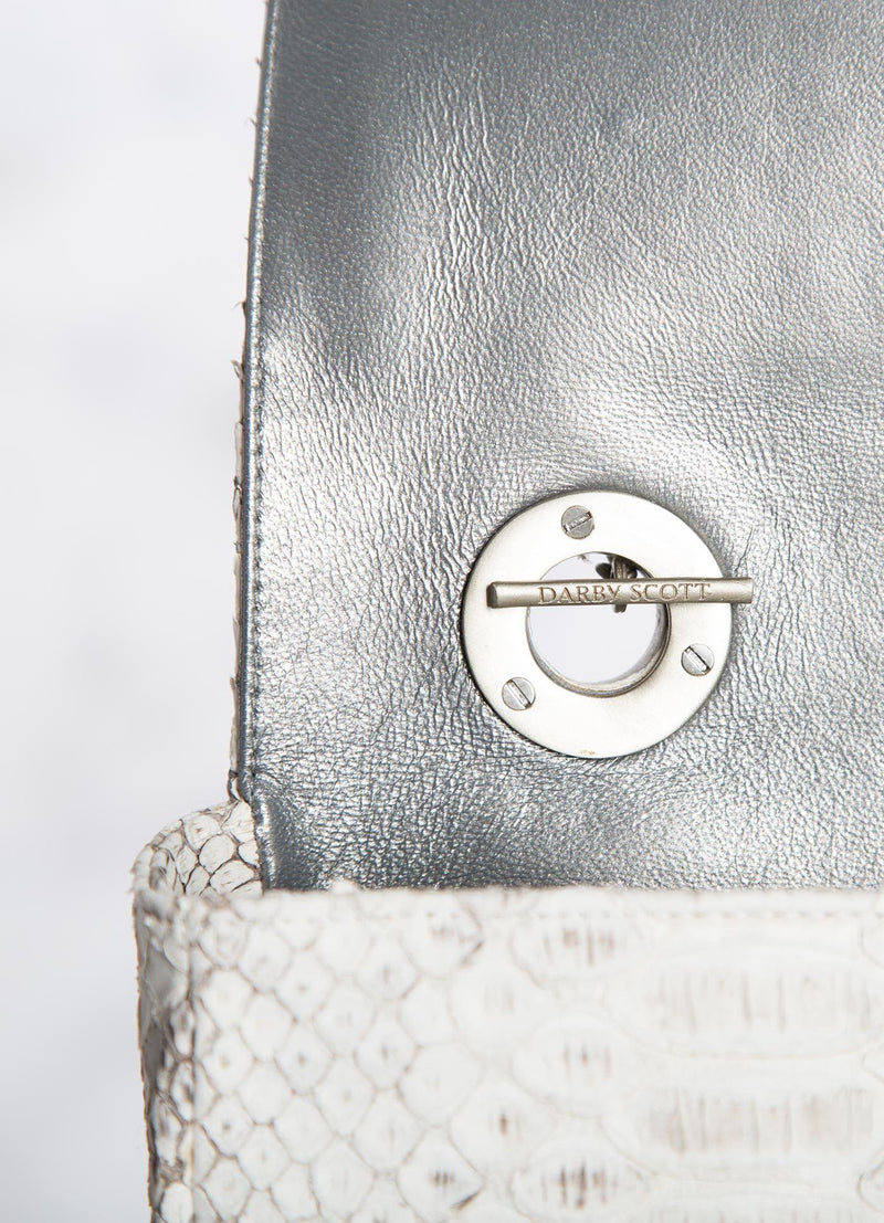 Interior view of handle toggle on White grey Shoulder Bag - Darby Scott
