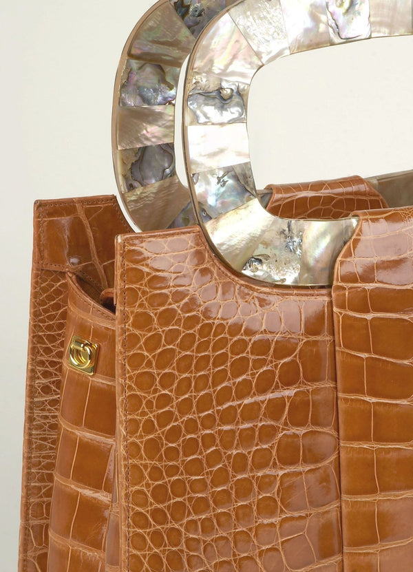 "Close up view natural mother of pearl handles of Apricot ""Heritage"" Tote - Darby Scott --alternate"