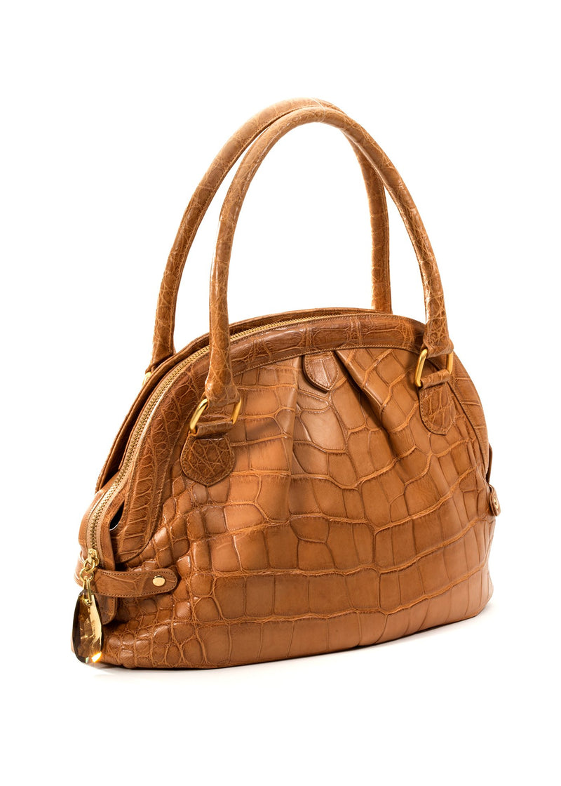 Pleated Satchel with gemstone pull in cognac alligator - Darby Scott