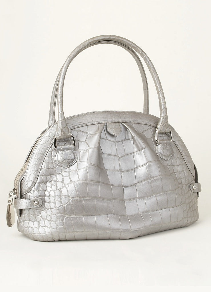 Exotic alligator pleated satchel in mercury metallic - Darby Scott