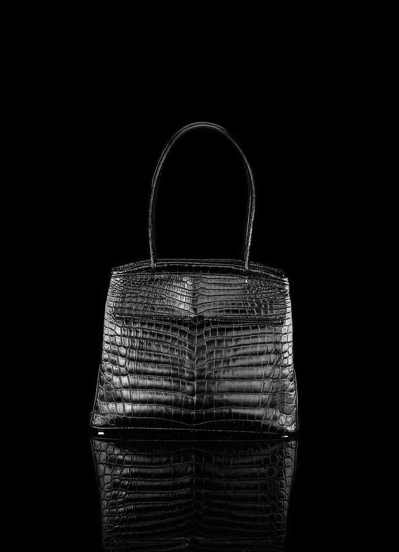 Front view of Black Niloticus Crocodile Crawford Tote  - Darby Scott