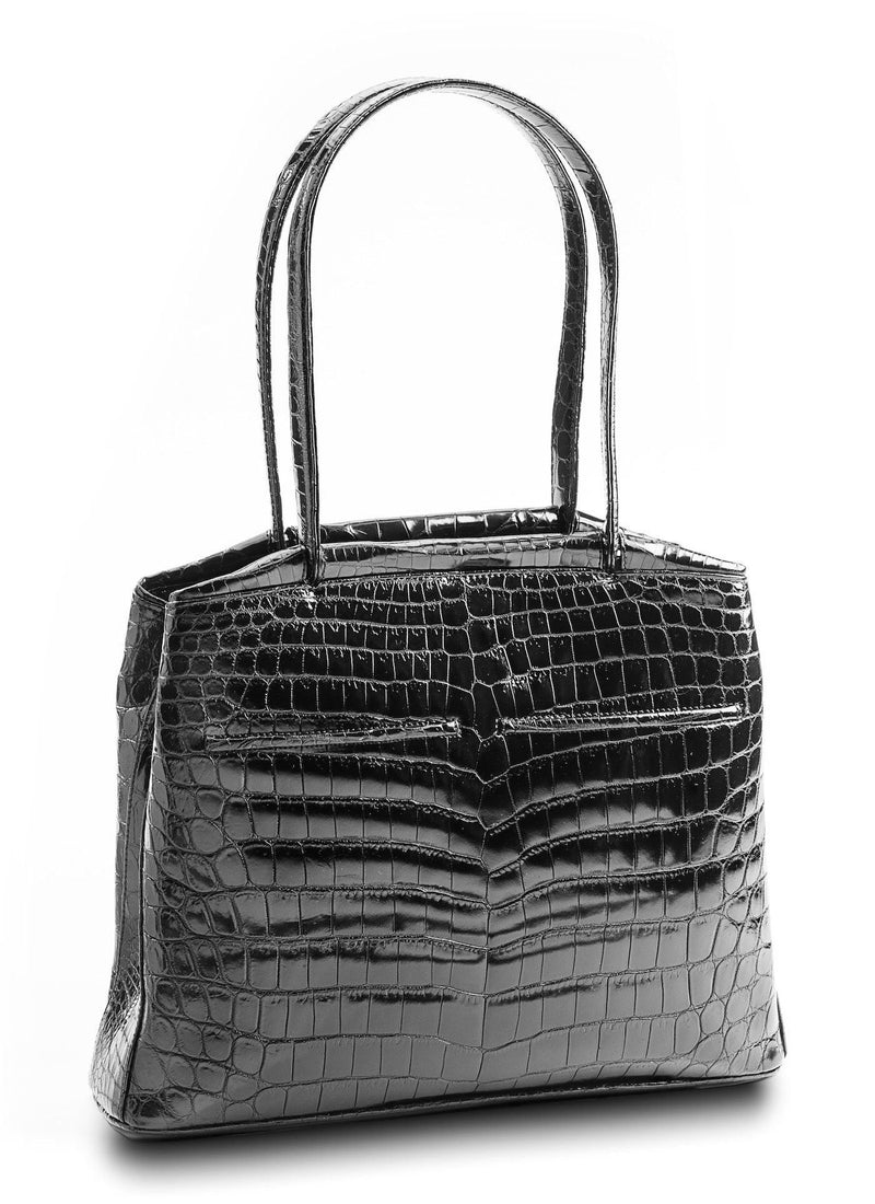 Back view of Black Niloticus Crocodile Crawford Tote  - Darby Scott