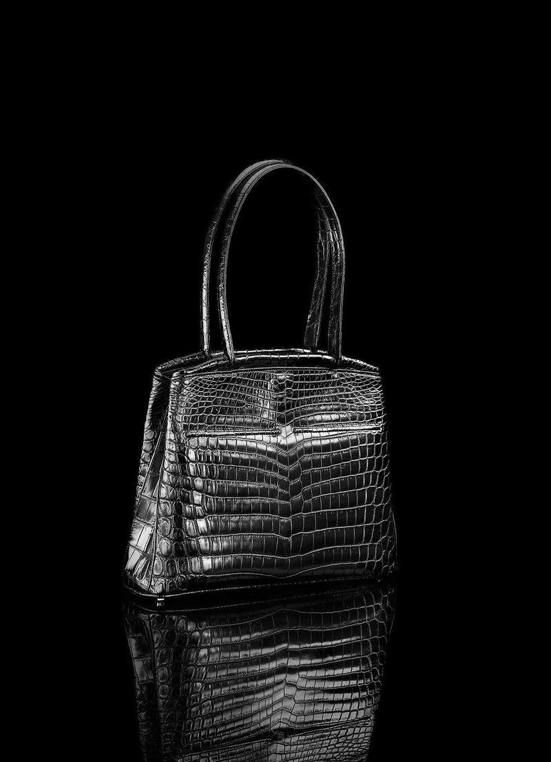 Angled view of Black Niloticus Crocodile Crawford Tote  - Darby Scott