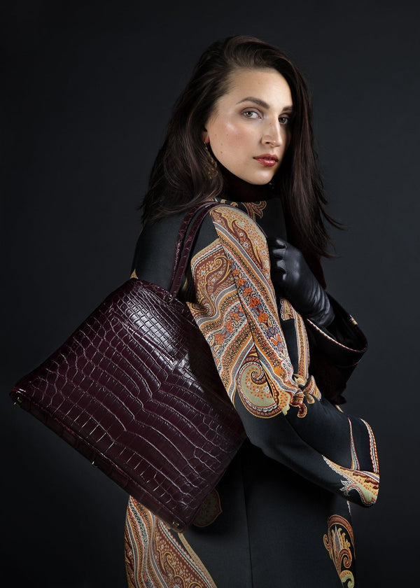 Model with Bordeaux Niloticus Crocodile Crawford Tote - Darby Scott
