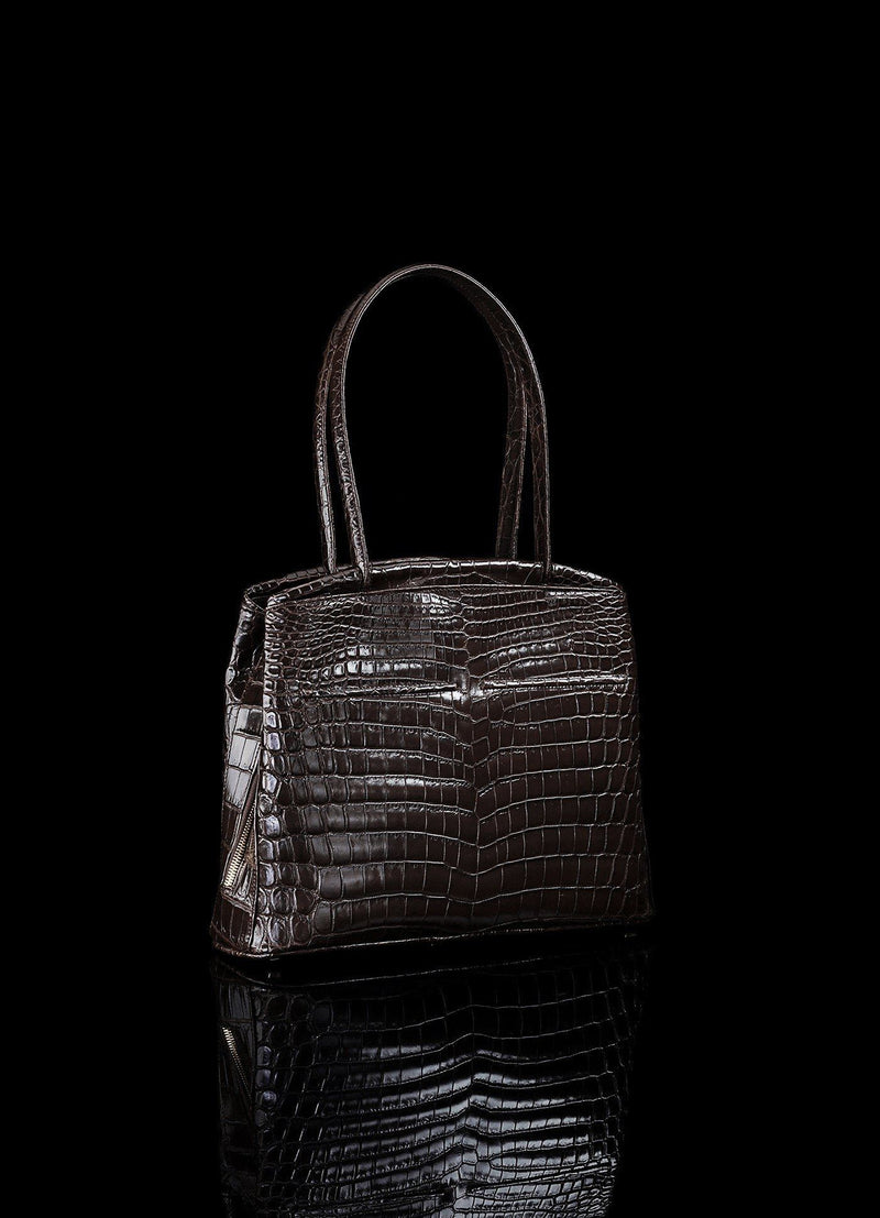 Back view of Brown Niloticus Crocodile Crawford Tote - Darby Scott