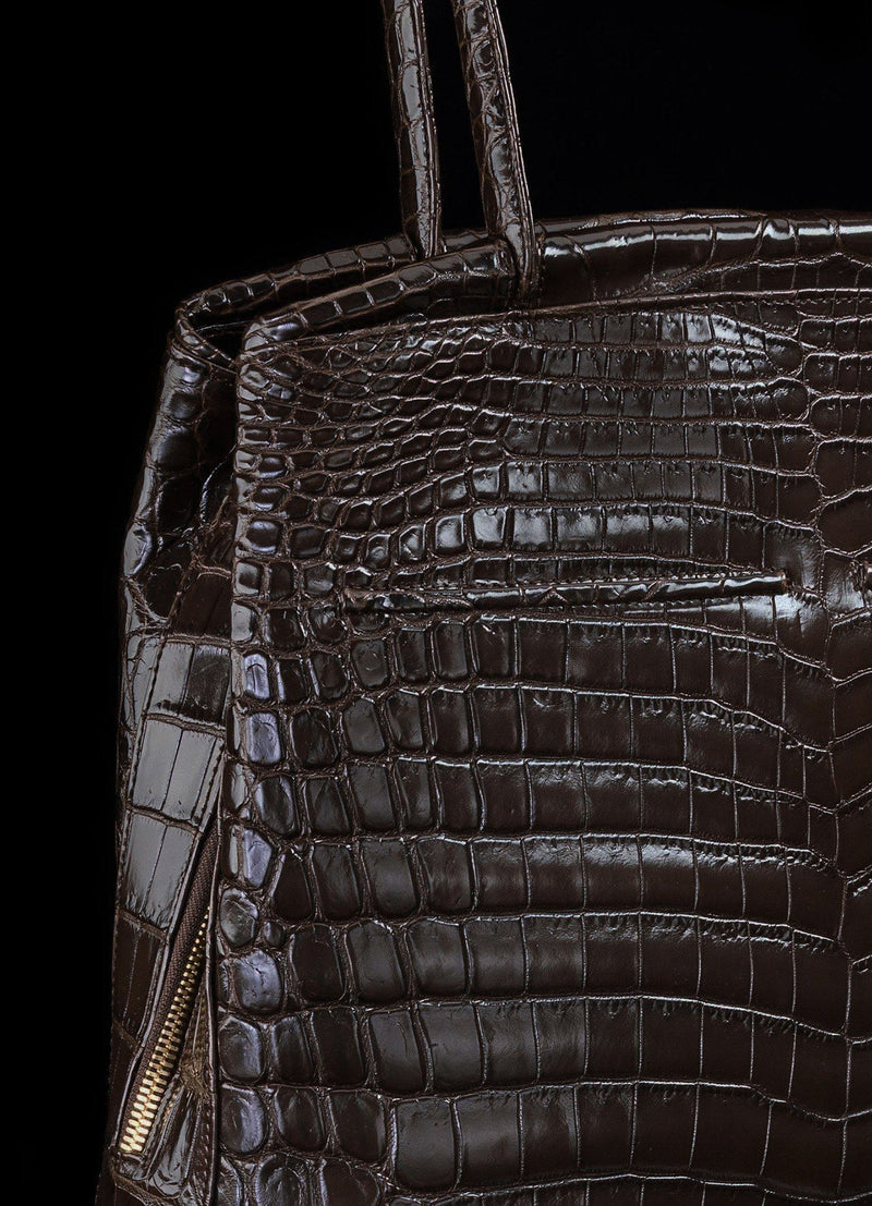 Detail view of Brown Niloticus Crocodile on Crawford Tote - Darby Scott