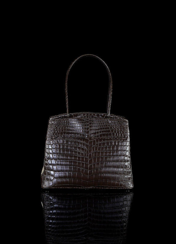 Front view of Brown Niloticus Crocodile Crawford Tote - Darby Scott--alternate